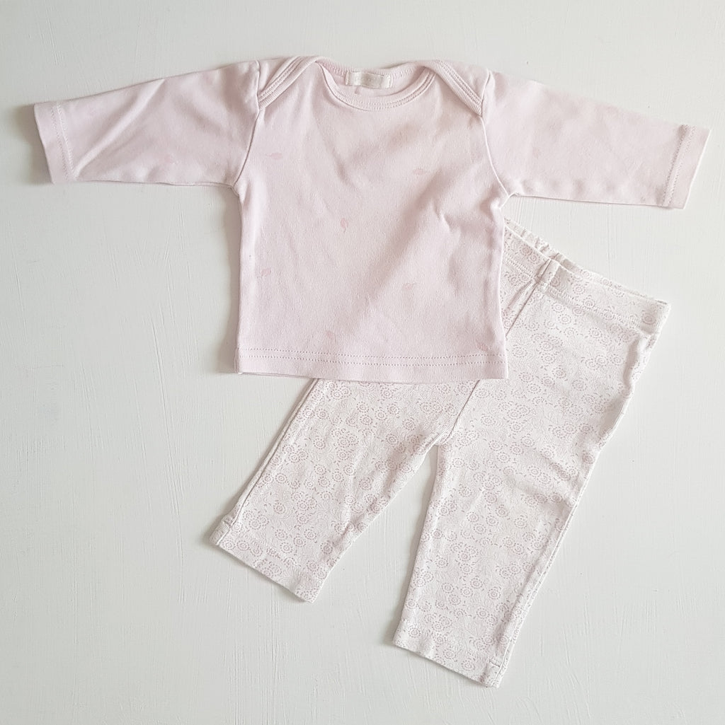 THRIFT Purebaby - Small Leaves Pink l/s Shirt Size 0000