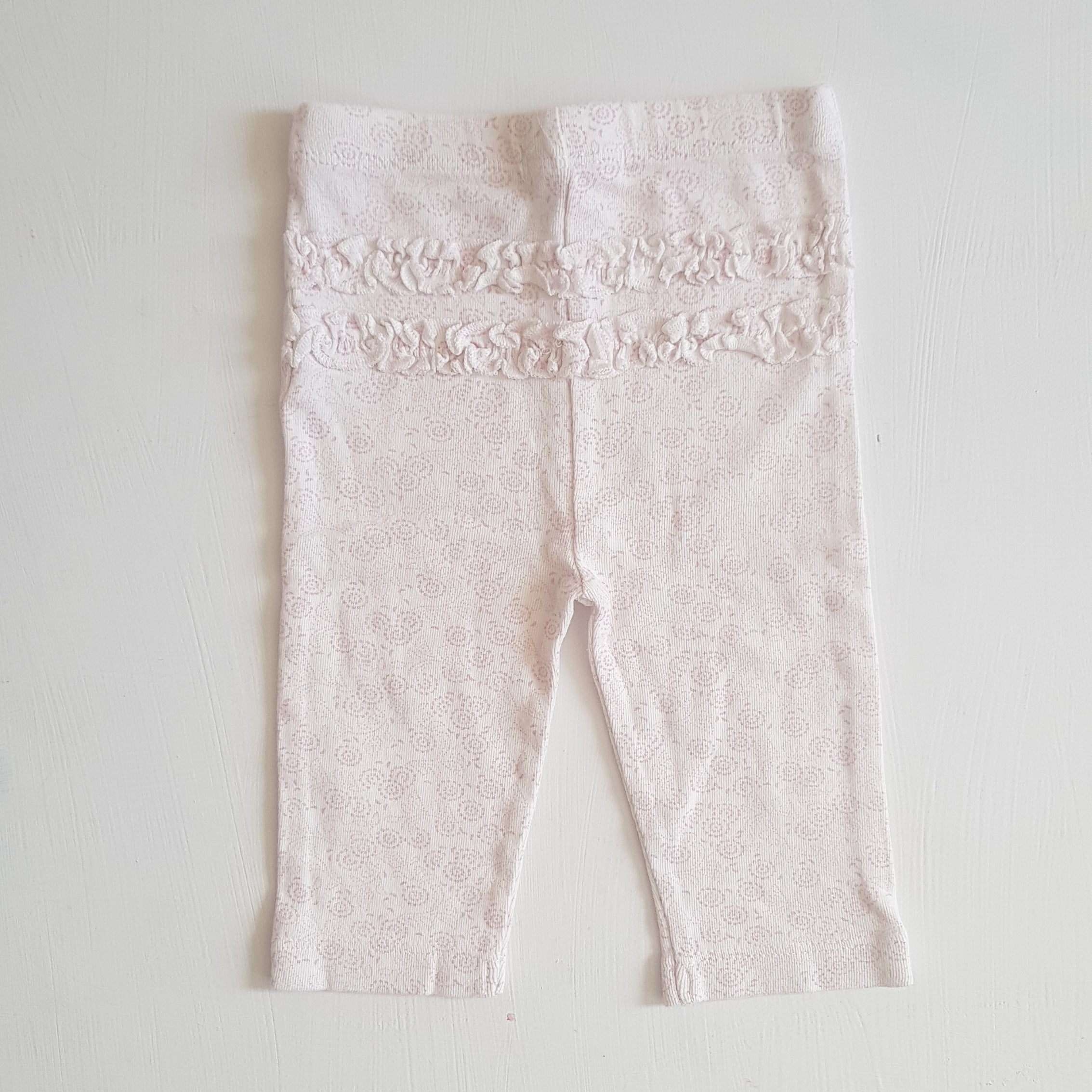 THRIFT Purebaby - Ruffle Bum Baby Leggings Size 00