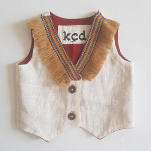 THRIFT Kiss Chasey Designs - Reversible Fringe Vest Size 0