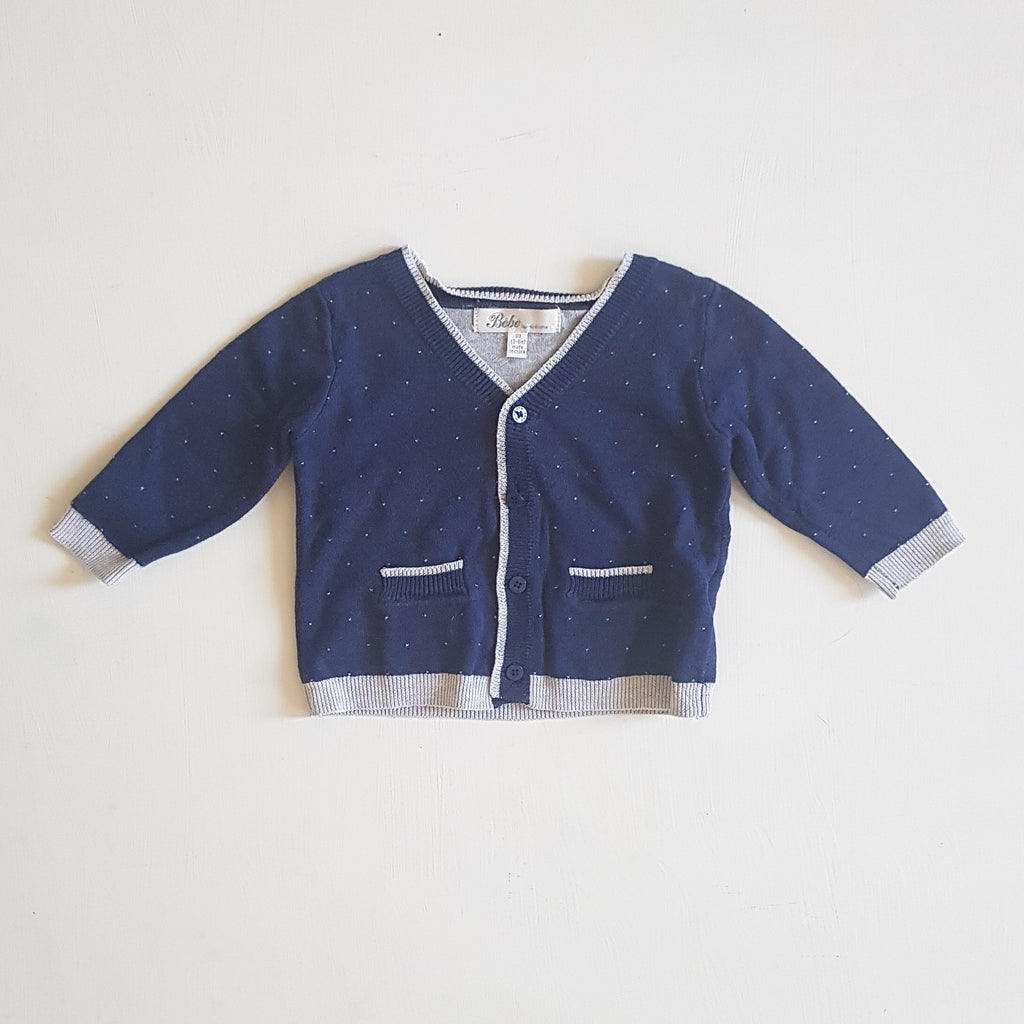 THRIFT Bebe by minihaha - Navy and Grey Cardigan Size 00