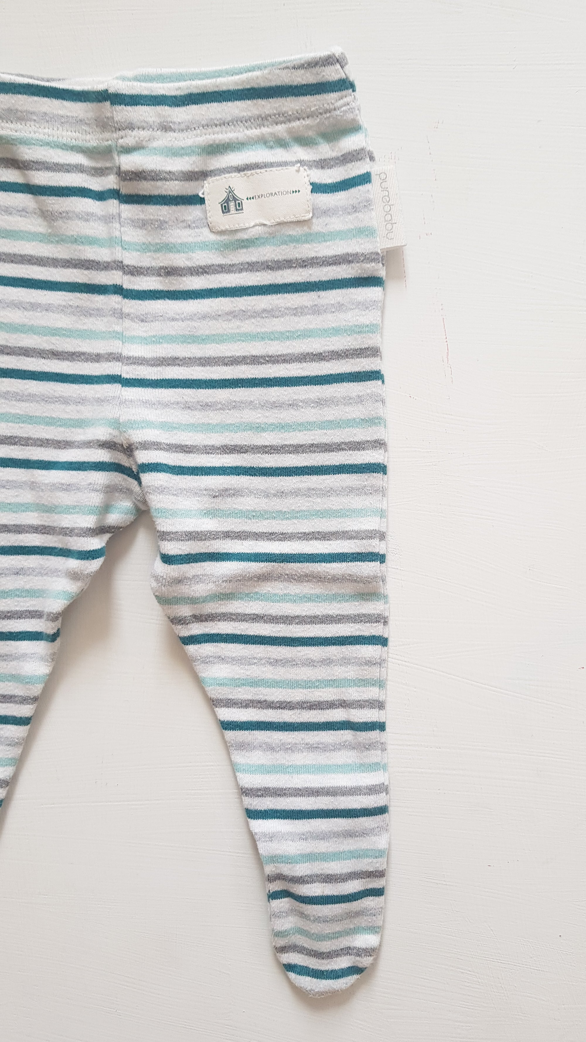 THRIFT Purebaby - Green Stripe Leggings Size 00