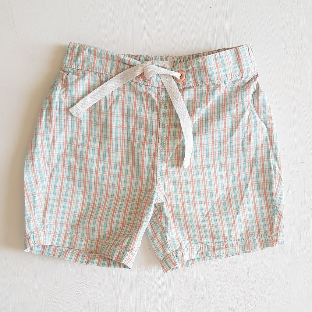 THRIFT Purebaby - Check Shorts Size 1