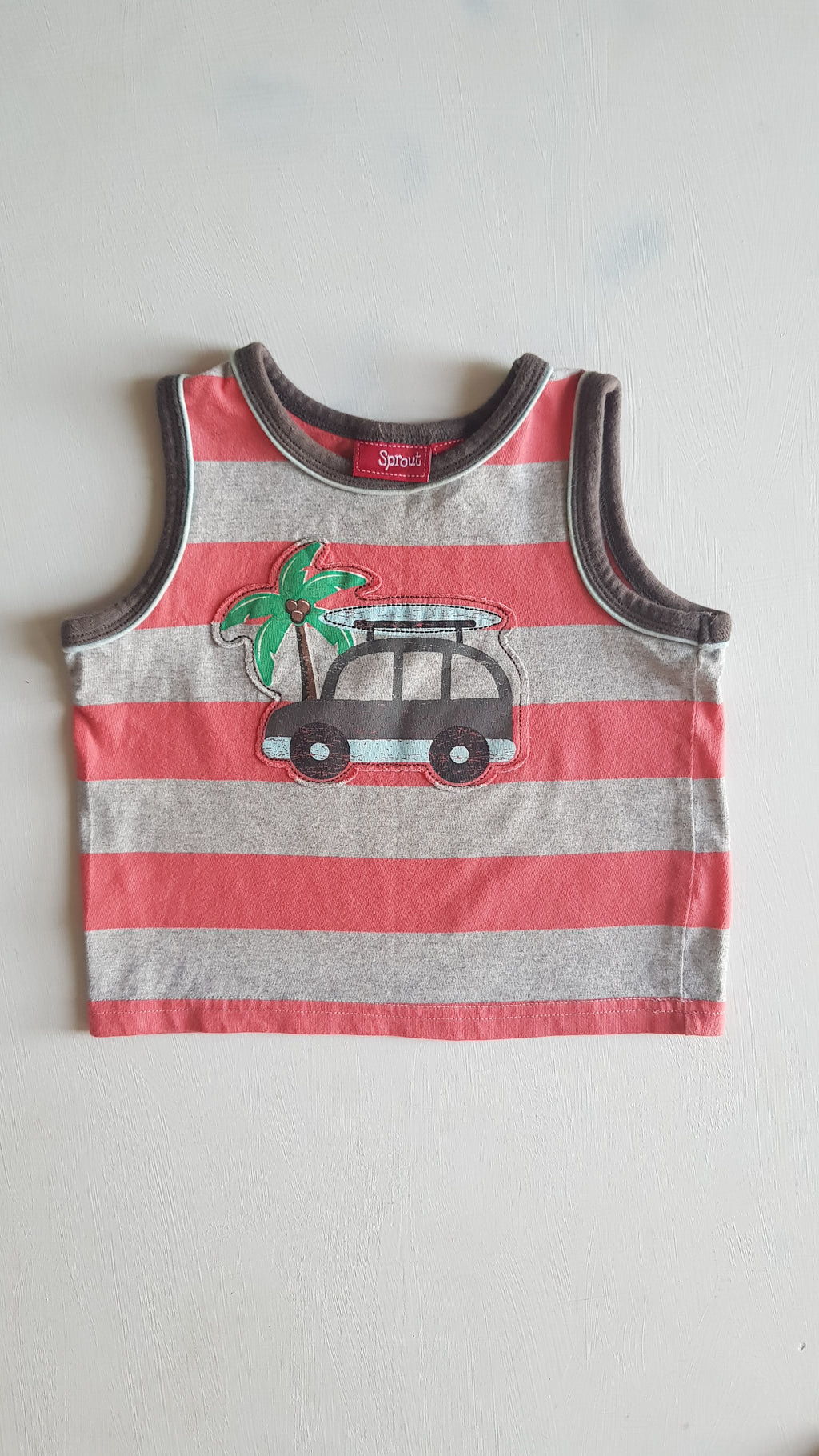 THRIFT Sprout - Coral Stripe Singlet Size 2