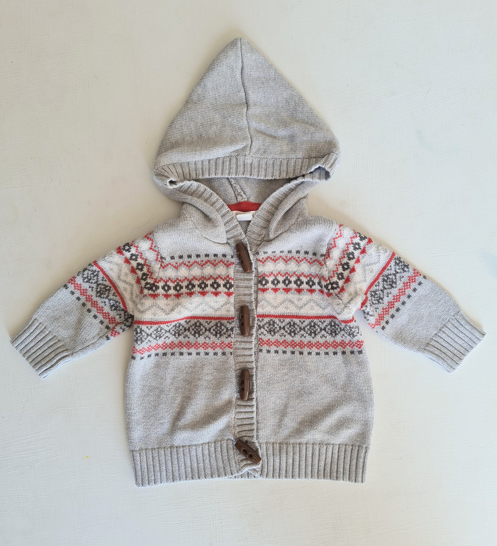 THRIFT Purebaby - Grey Cardigan with hood Size 00