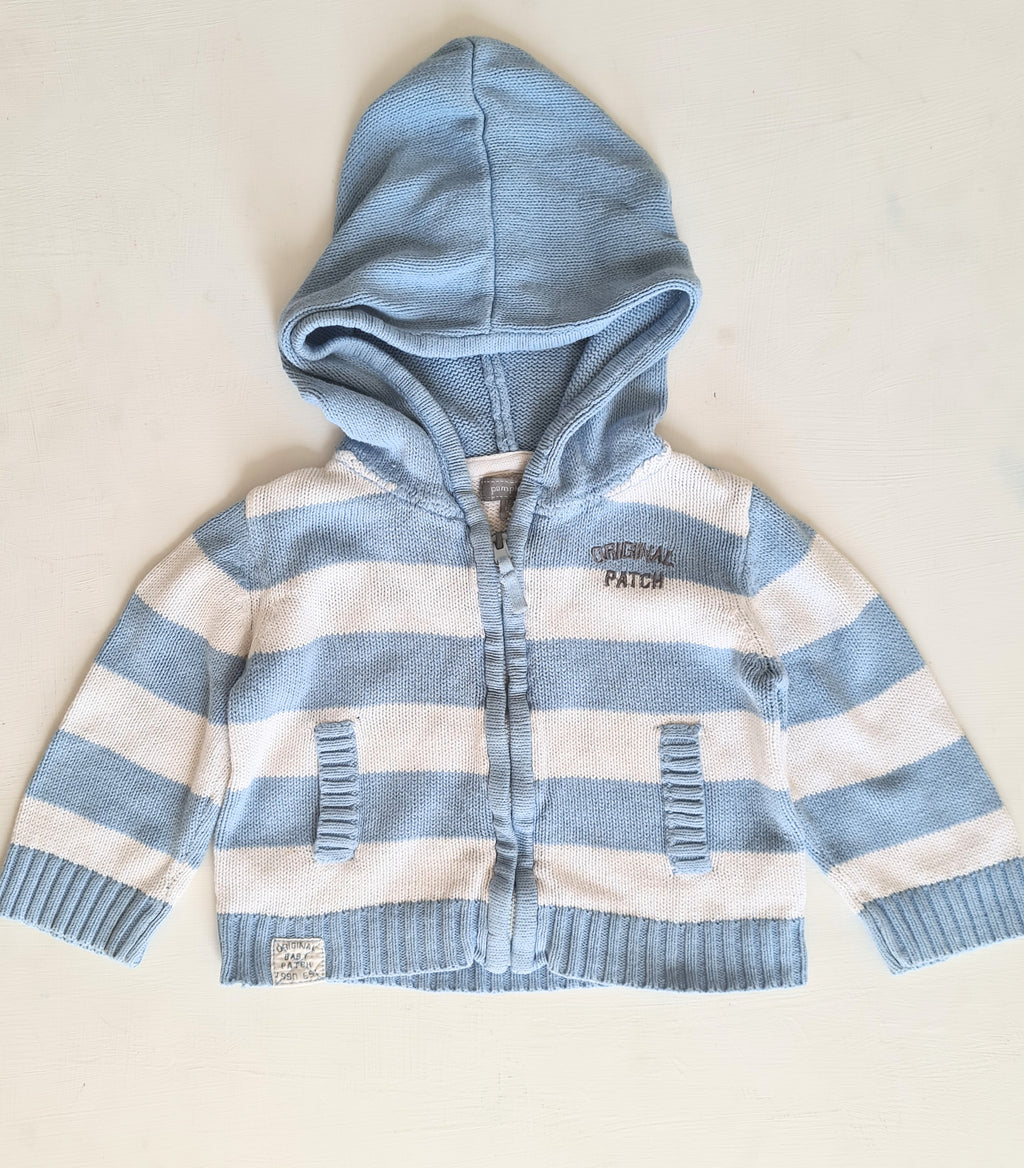 THRIFT Pumpkin Patch - Knitted Blue Stripe Cardigan Size 12/18 month