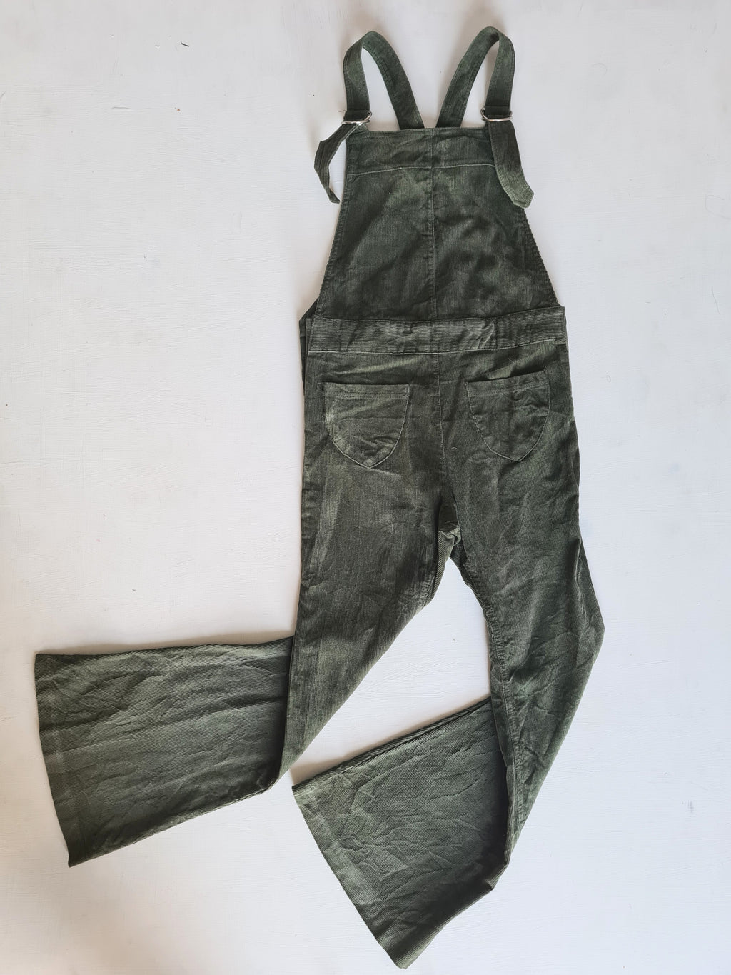 THRIFT Feather Drum - Olive Bell Overalls Size 10