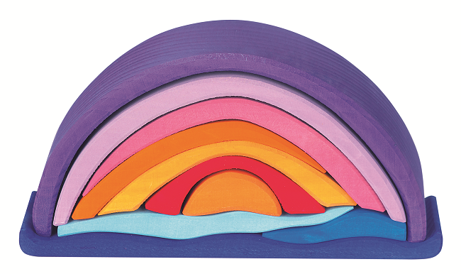 Gluckskafer Wooden Block Puzzle - Sunset Arch Purple - 10 pieces
