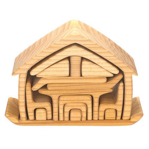 Gluckskafer - Wooden All in One House Block Puzzle - Natural