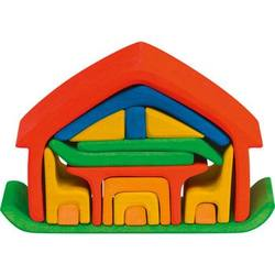 Children_of_the_Wild_Australia Gluckskafer - Wooden All in One House Block Puzzle - Red