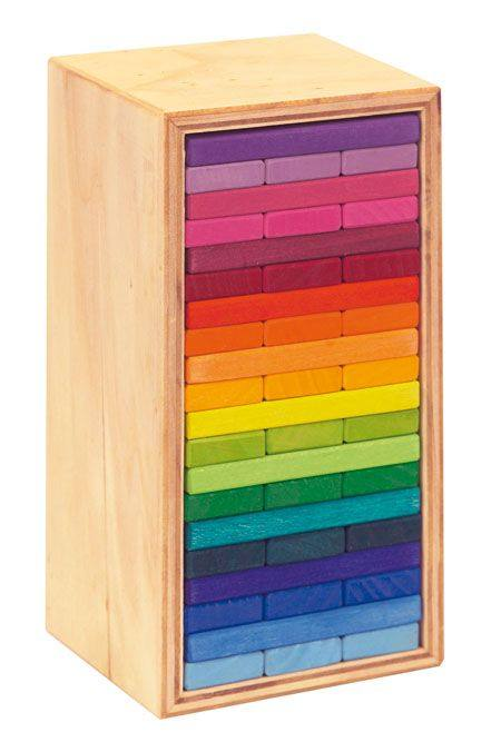 Gluckskafer Wooden Block Puzzle - Rainbow Building Slats in Tower Box 60 pieces