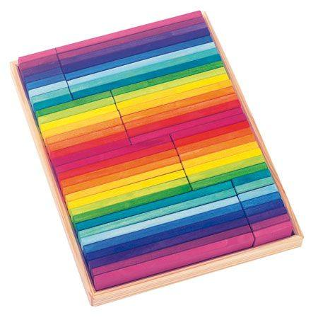 Gluckskafer Wooden Block Puzzle - Rainbow Building slats in tray 64 parts