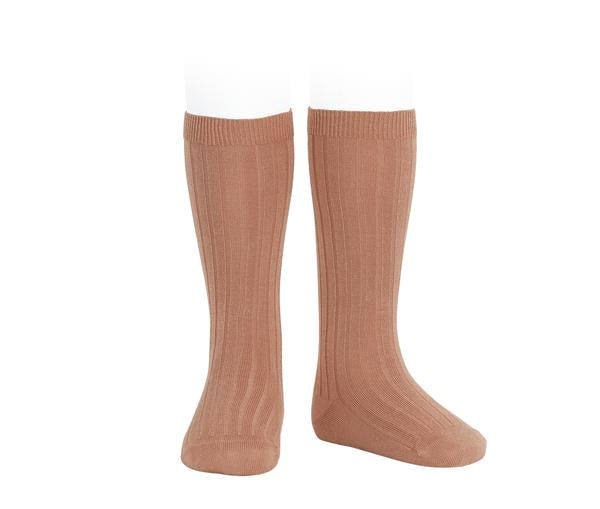 Condor Ribbed Knee High Tights Terracotta