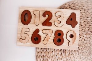 QToys Natural Wooden Number Puzzle