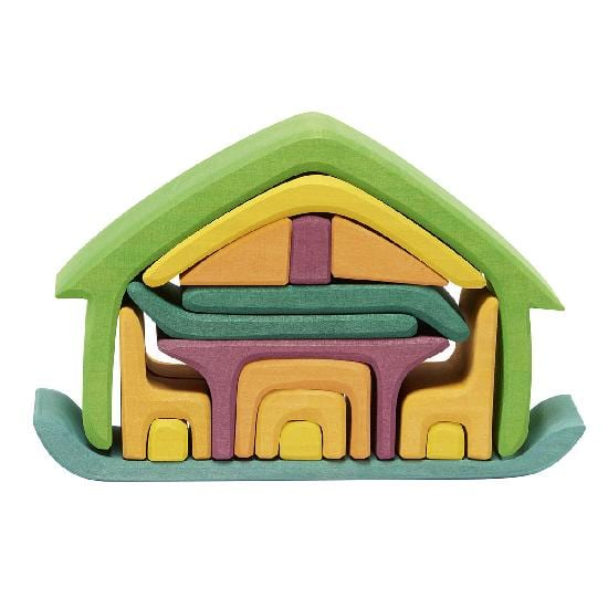 Gluckskafer - Wooden All in One House Block Puzzle - Green