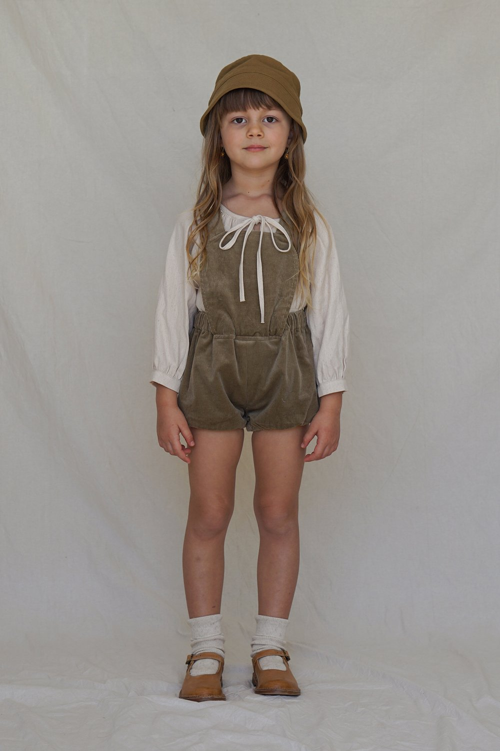 Children_of_the_Wild-Australia House of Paloma Anais Playsuit ~ Caper  Caper Cord, beautifully lined in a playful striped cotton.