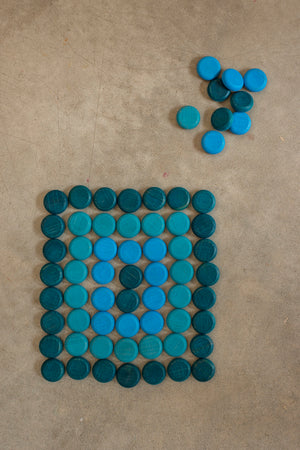 Grapat Little Blue Coins Mandala Wooden Loose Parts