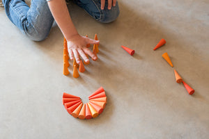 Grapat Orange Little Cones Mandala Wooden Loose Parts