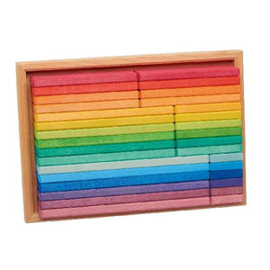 Gluckskafer Wooden Blocks - Rainbow Building Slats in Tray 32 pcs