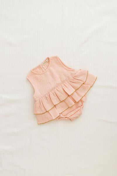 Fin and Vince Ruffle Onesie - Peach