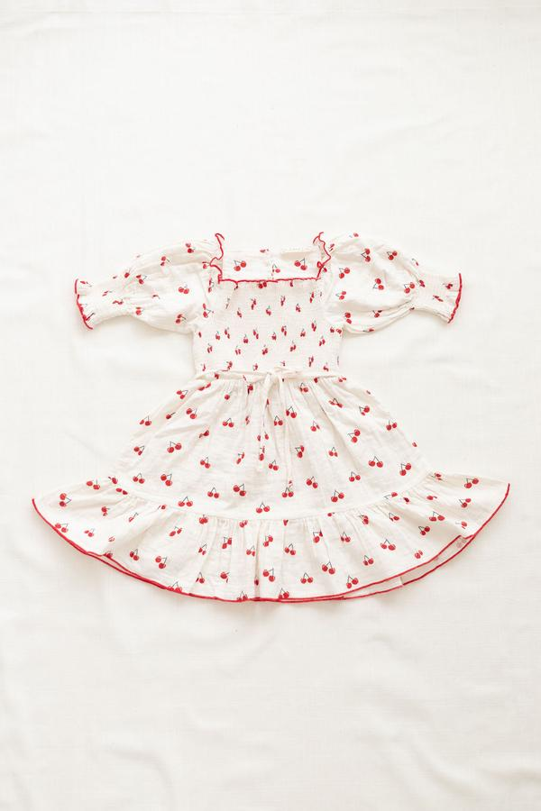 Fin and Vince Smocked Dress - Cherry