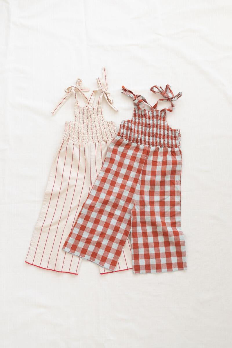 Fin and Vince Smocked Jumpsuit - Picnic Plaid