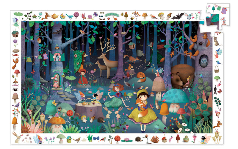 Djeco Puzzle - Enchanted Forest 100pc Observation Puzzle