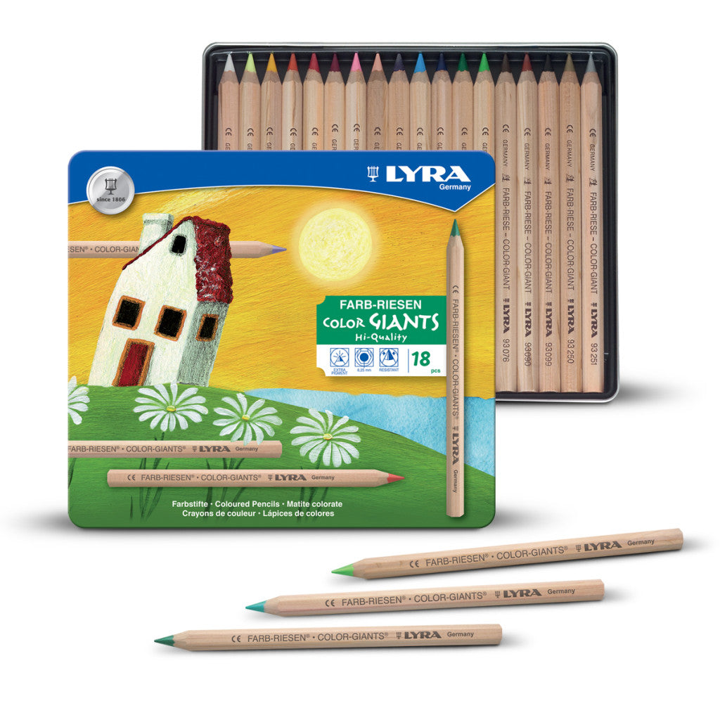 Lyra Pencils Colour Giants Natural 18 Assorted in Tin