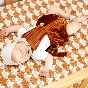THRIFT Kiss Chasey Designs - Copper Velvet Romper size newborn to 00