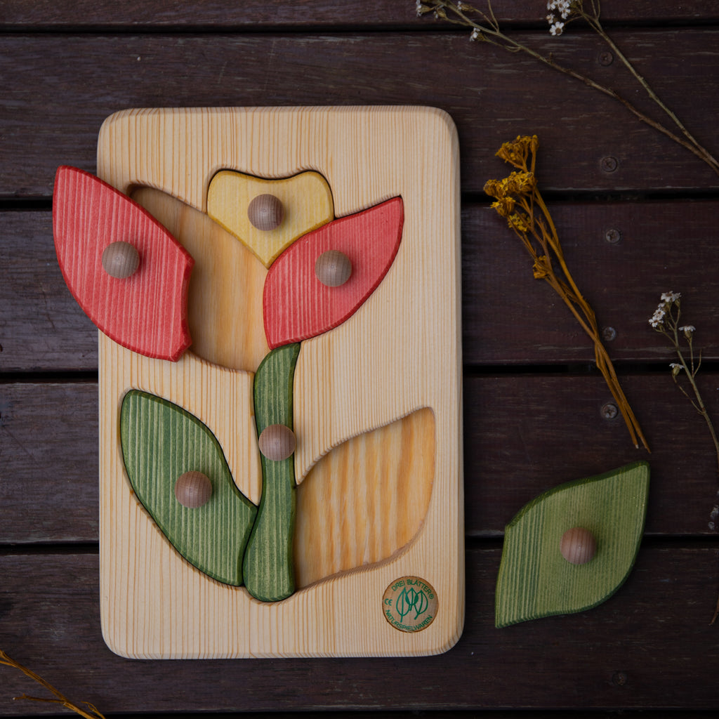 Children_of_the_Wild_Australia Drei Blatter Wooden Flower puzzle