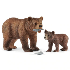 Schleich Grizzly Bear Mother with Cub Playset 42473