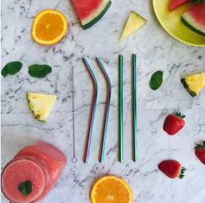 Montii Co Rainbow Stainless Steel Straw Set