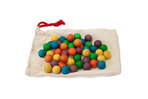 QToys Set of 50 Coloured Wooden Balls