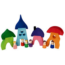 Bauspiel Wooden Houses - 8 Pieces
