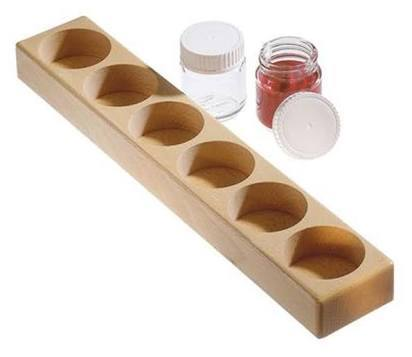 Mercurius Wooden Paint Holder with 6 Glass Jars
