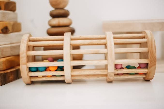 Qtoys - Wooden Rainmaker with Coloured Balls