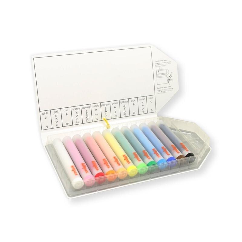Kitpas Medium Stick Crayons with Holder 12 colours