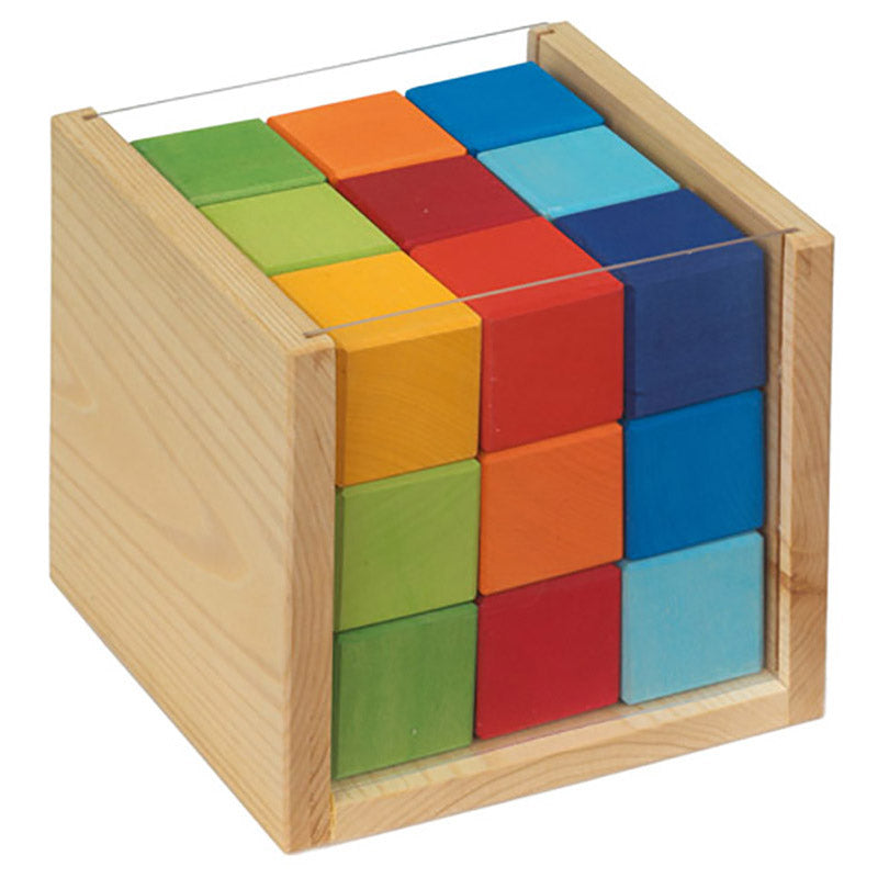 Gluckskafer Wooden Block Puzzle - Coloured Cubes in a Box