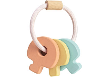 Plan Toys - Wooden Key Rattle Pastel