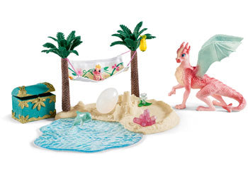 Schleich Treasure island with dragon mama and dragon baby 42436