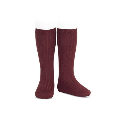 Condor basic ribbed knee high tights Burgundy
