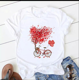 Tricou alb Love Bike