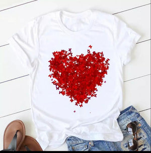 Tricou alb Love Red Butterflies