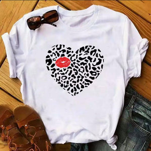 Tricou alb Love Kiss Heart