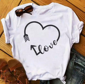 Tricou alb Love Heart