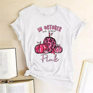 Tricou alb Pink October #2