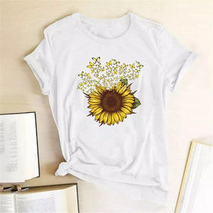 Tricou alb Sunflower and Butterfly #2