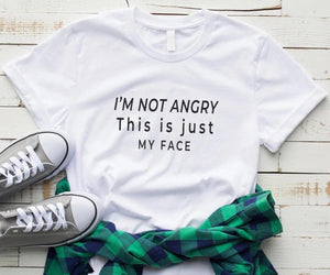 Tricou dama alb I'M NOT ANGRY