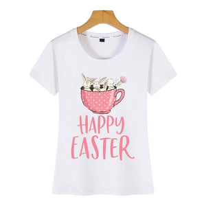 Tricou alb Happy Easter