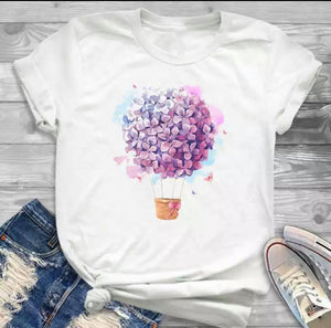 Tricou alb Flower  Balloon