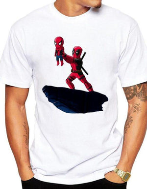 Tricou Alb Deadpool and Spiderman